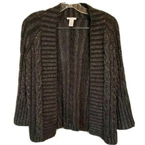 Chico's Gray Silver Cable Knit Open Front Cardigan